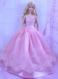 Beautiful Pink Princess Dress With Lace Made To Fit The Quinceanera Doll