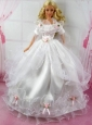 Beautiful Wedding Dress With Flower Gown For Quinceanera Doll