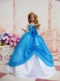 Elegant Ball Gown Blue Dress Made To Fit The Quinceanera Doll