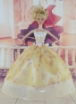 Elegant Handmade Dress With Flower Made To Fit The Quinceanera Doll