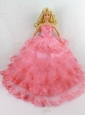 Elegant Handmade Gown With Ruffled Layers And Embroidery Made To Fit The Quinceanera Doll