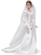 Elegant Handmade White Quinceanera Doll Satin Wedding Dress For Quinceanera Doll