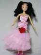 Elegant Pink Dress With Flower Tea-length For Quinceanera Doll
