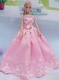 Elegant Pink Gown With Embroidery Made To Fit The Quinceanera Doll
