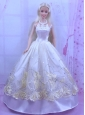 Elegant White Princess Dress For Quinceanera Doll With Appliques