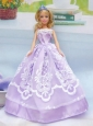 Embroidery Lilac For A-line Quinceanera Doll Dress