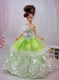 Exclusive Embroidery Ball Gown Organza Dress For Nobel Quinceanera Doll