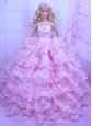 Exclusive Pink Gown With Ruffled Layers Dress For Quinceanera Doll