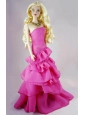 Fashion Fuchsia Party Dress With Ruffled Layers Gown For Quinceanera Doll