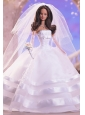 Fashion Handmade Quinceanera Doll White Organza Wedding Dress For Quinceanera Doll