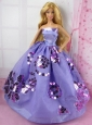 Fashion Purple Princess Dress With Sequins Gown For Quinceanera Doll