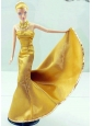 Gorgeous Gold Dress For Quinceanera Doll