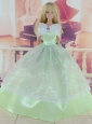 Green Pretty Gown With Embroidery Dress For Quinceanera Doll
