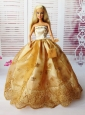 Lovely Ball Gown Handmade Gold Appliques Quinceanera Doll Dress