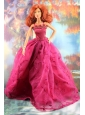 Lovely Embroidery For Hot Pink Quinceanera Doll Dress