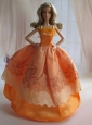 Lovely Handmade Orange Beading Ball Gown Quinceanera Doll Dress