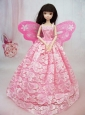 Lovely Handmade Pink Lace To Quinceanera Doll Dress