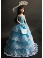 Luxurious Baby Blue Party Dress With Organza Made To Fit The Quinceanera Doll