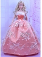 Luxurious Orange Dress With Appliques Made To Fit The Quinceanera Doll