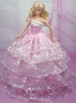 Luxurious Pink Gown With Sequins And Embroidery Made To Fit The Quinceanera Doll