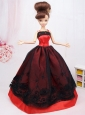New Beautiful Black And Red Handmade Party Clothes Fashion Dress For Quinceanera Doll