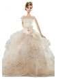 New Beautiful Handmade Champagne Organza Party Dress For Quinceanera Doll