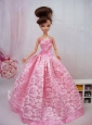 Popular Ball Gown Pink Quinceanera Doll Dress
