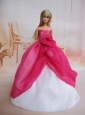 Pretty Ball Gown Dress For Quinceanera Doll With Hot Pink And Hand Made Flowers