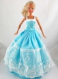 Pretty Blue Princess Dress With Lace Gown For Quinceanera Doll