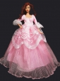 Pretty Princess Pink Dress Gown For Quinceanera Doll