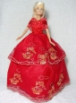 Pretty Red Gown With Embroidery Dress For Quinceanera Doll