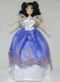 Pretty Royal Blue And White Gown For Quinceanera Doll