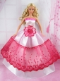 Romantic Pink And Red Princess Dress With Flower Made To Fit The Quinceanera Doll