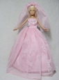 Romantic Pink Wedding Dress With Beading Made To Fit The Quinceanera Doll