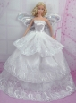 Romantic Wedding Dress With Embroidery Made To Fit The Quinceanera Doll