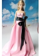 Rose Pink Party Dress With Sash For Quinceanera Doll Dress
