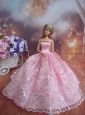 Sequin Decorate Fashion Princess Pink Dress Gown For Quinceanera Doll