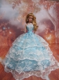 Sweet Lace Over Skirt To Light Blue Quinceanera Doll Dress