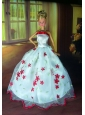 Sweet Lace White Strapless Party Clothes Fashion Dress For Quinceanera Doll