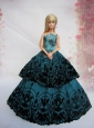 Teal A-line Dress Quinceanera Doll With Appliques And Floor-length
