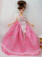The Most Amazing Rose Pink Dress With Sequins Made to Fit the Barbie Doll