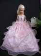 Beautiful Ball Gown Pink Taffeta And Organza Gown For Quinceanera Doll
