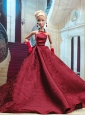 Beautiful Burgundy Satin Party Dress For Quinceanera Doll