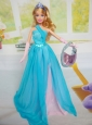 Beautiful Chiffon Blue Chiffon Party Dress For Quinceanera Doll