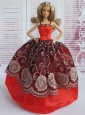 Beautiful Embroidery Ball Gown Red And Black Quinceanera Doll Dress