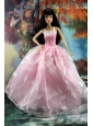 Beautiful Pink And Embroidery For Quinceanera Doll Dress