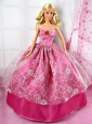 Beautiful Red Party Tulle Clothes Fashion Dress Hot Pink For Quinceanera Doll