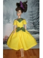 Bowknot Yellow Short Princess Party Clothes Quinceanera Doll Dress