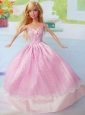 Cute Pink Party Clothes Taffeta for Noble Barbie Doll