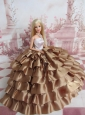 Elegant Ball Gown Ruffles Layers Brown Quinceanera Doll Dress
